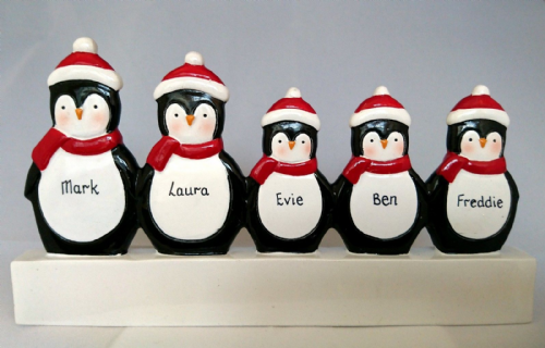 Penguin Family of 5 Mantle Decoration